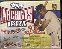 2001 Topps Archives Reserve Baseball Hobby Box