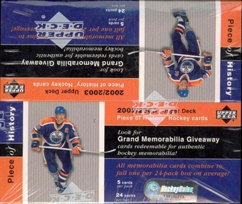 2002/03 Upper Deck Piece Of History Hockey 24 Pack Box