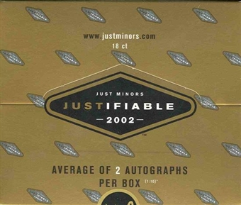 2002 Just Minors Justifiable Baseball 18 Pack Box