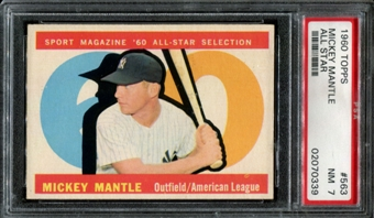 1960 Topps Baseball #563 Mickey Mantle All Star PSA 7 (NM) *0339