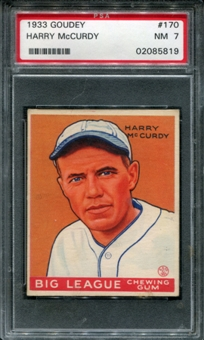 1933 Goudey Baseball #170 Harry McCurdy PSA 7 (NM) *5819