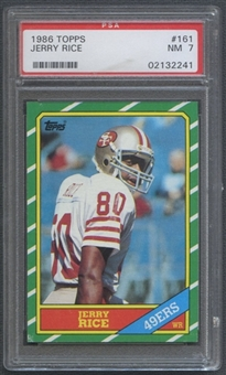 1986 Topps Football #161 Jerry Rice Rookie PSA 7 (NM) *2241