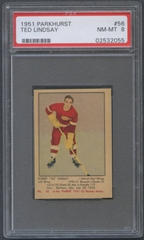 1951/52 Parkhurst Hockey #56 Ted Lindsay Rookie PSA 8 (NM-MT) *2055