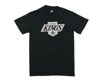 Los Angeles Kings Majestic Black Vintage Lightweight Tek Patch Tee Shirt (Adult X-Large)