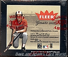 2002 Fleer Greats Of The Game Baseball Hobby Box