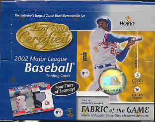 2002 Leaf Certified Materials Baseball Hobby Box