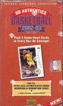 2002/03 Upper Deck Authentics Basketball Hobby Box