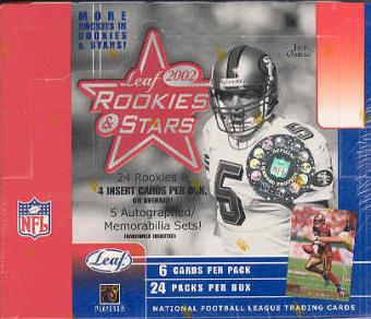 2002 Leaf Rookies & Stars Football 24 Pack Box