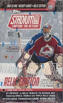 2002/03 Topps Stadium Club Relic Edition Hockey Hobby Box