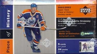 2002/03 Upper Deck Piece Of History Hockey Hobby Box