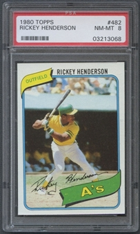 1980 Topps Baseball #482 Rickey Henderson Rookie PSA 8 (NM-MT) *3068