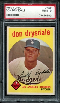 1959 Topps Baseball #387 Don Drysdale PSA 9 (MINT) *4243