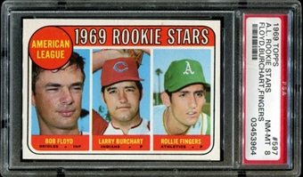1969 Topps Baseball #597 Rollie Fingers Rookie PSA 8 (NM-MT) *3964
