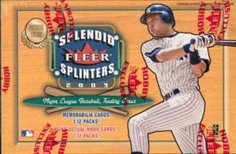 2003 Fleer Splendid Splinters Baseball Hobby Box