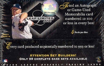 2003 Leaf Limited Baseball Hobby Box