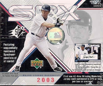 2003 Upper Deck SPx Baseball Hobby Box