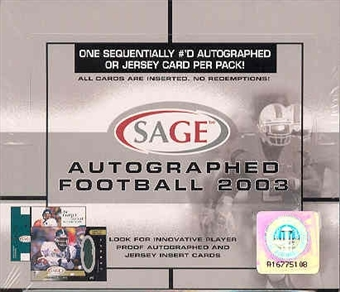 2003 Sage Autographed Football Hobby Box