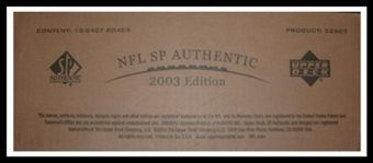 2003 Upper Deck SP Authentic Football 12 Box Hobby Case