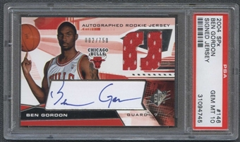 2004/05 Upper Deck SPx #146 Ben Gordon RC Auto Jersey 2/750 PSA 10 Gem Mint