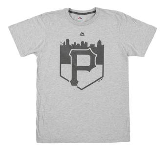 Pittsburgh Pirates Majestic Gray Pass Through Dual Blend Tee Shirt (Adult X-Large)