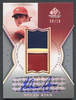 2004 SP Game Used Patch HOF Numbers Autograph Dual #NR Nolan Ryan 8/10