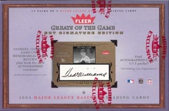 2004 Fleer Greats Of The Game Cut Signature Edition Baseball Hobby Box