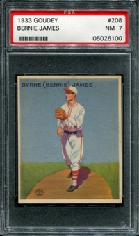 1933 Goudey Baseball #208 Bernie James PSA 7 (NM) *6100