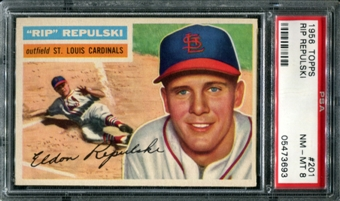 1956 Topps Baseball #201 Rip Repulski PSA 8 (NM-MT) *3693