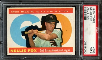 1960 Topps Baseball #555 Nellie Fox All Star PSA 7 (NM) *5000