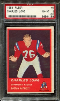 1963 Fleer Football #6 Charles Long PSA 8 (NM-MT) (OC) *4180