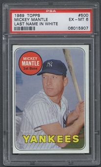 1969 Topps Baseball #500 Mickey Mantle (White Letters) PSA 6 (EX-MT) *5907