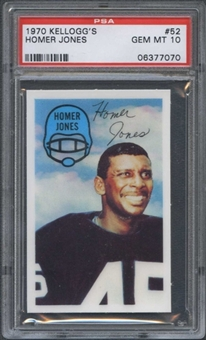 1970 Kellogg's Football #52 Homer Jones PSA 10 (GEM MT) *7070