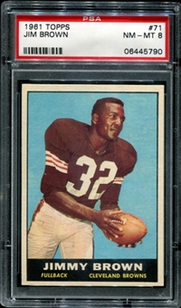 1961 Topps Football #71 Jim Brown PSA 8 (NM-MT) *5790