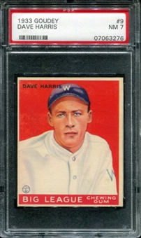 1933 Goudey Baseball #9 Dave Harris PSA 7 (NM) *3276