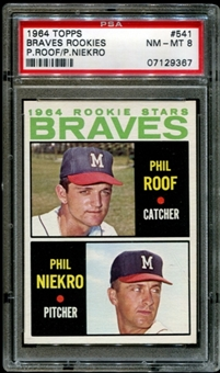 1964 Topps Baseball #541 Phil Niekro Rookie PSA 8 (NM-MT) *9367