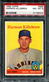 1958 Topps Baseball #288 Harmon Killebrew PSA 8 (NM-MT) *9345