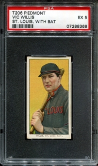 1909-11 T206 Piedmont Vic Willis (St. Louis - With Bat) PSA 5 (EX) *8368