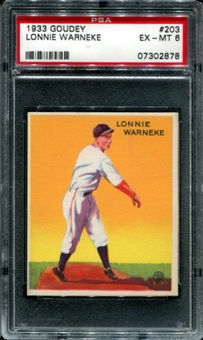 1933 Goudey Baseball #203 Lonnie Warneke PSA 6 (EX-MT) *2878