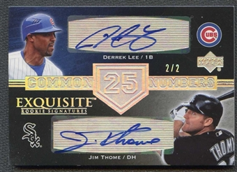 2007 Exquisite Collection Rookie Signatures Common Numbers Silver Spectrum #LT Jim Thome Derrek Lee 2/2