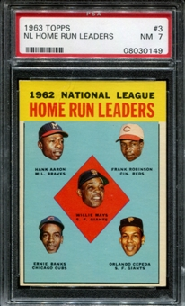 1963 Topps Baseball #3 NL Home Run Leaders PSA 7 (NM) *0149