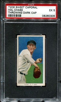 1909-11 T206 Sweet Caporal Hal Chase (Throwing - Dark Cap) PSA 5 (EX) *0305