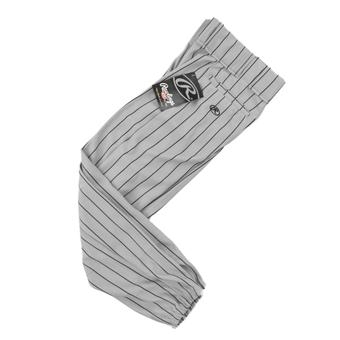 Rawlings Baseball Pants - Gray/Black Pinstripe (Adult S)
