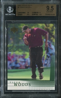 2001 Upper Deck Golf #1 Tiger Woods Rookie Card BGS 9.5 Gem Mint