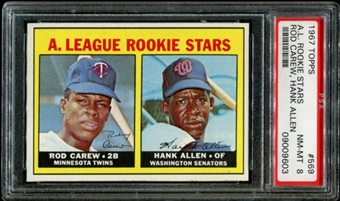 1967 Topps Baseball #569 Rod Carew Rookie PSA 8 (NM-MT) *9603