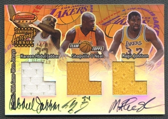 2001/02 Topps Xpectations Bowman's Best #FFA7 Abdul-Jabbar Shaquille O'Neal Magic Johnson Jersey Auto 5/10