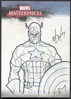 2007 Upper Deck Marvel Masterpieces Sketches Captain America 1/1 MSM