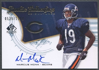 2008 Upper Deck SP Authentic Football Marcus Monk Rookie Auto #0539/1199