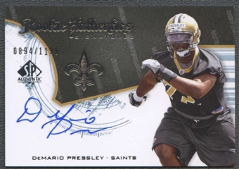 2008 Upper Deck SP Authentic Football DeMario Pressley Rookie Auto #0894/1199