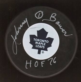 Johnny Bower Autographed Toronto Maple Leafs Hockey Puck
