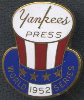 1952 New York Yankees World Series Press Pin